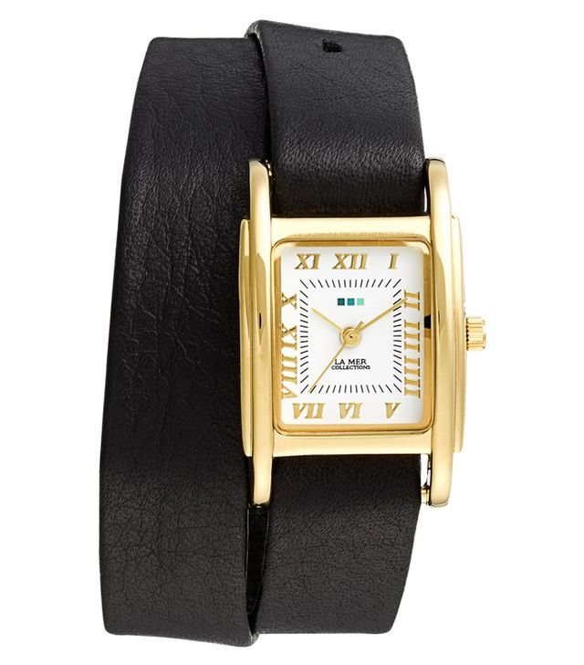 La Mer Collections Leather Wrap Watch, 25mm x 36mm