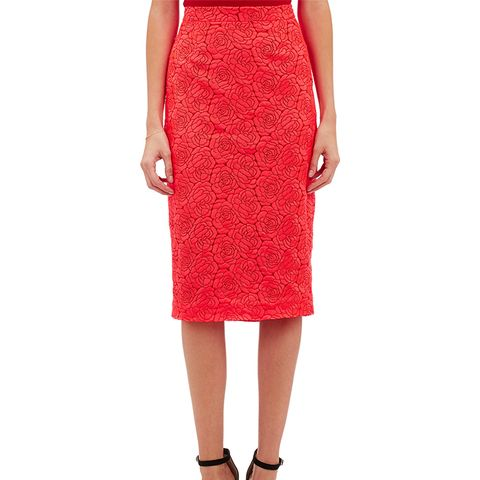 Rose-Embroidered Towner Midi Skirt