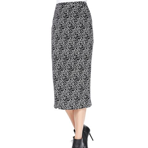 Crackle-Print Midi Skirt