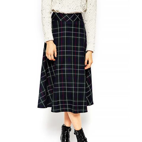 Midi Skirt in Plaid Print