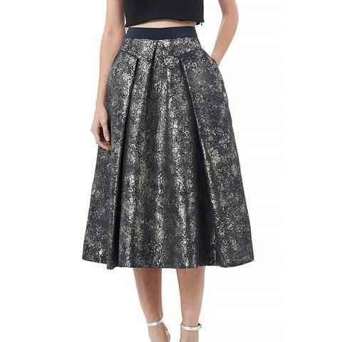 Foil Matelassé Midi Skirt