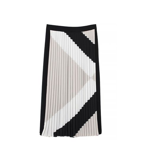 Maritime Border Striped Pleated Skirt