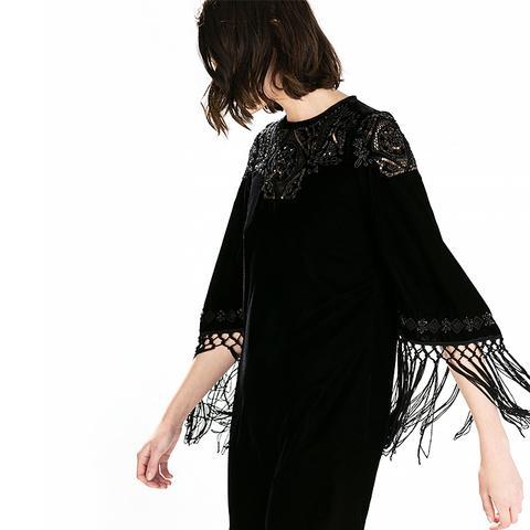 Sequin Embroidery Velvet Dress