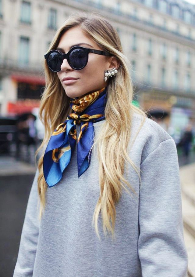 Pair your silk scarf with a giant pair of shades and a modern ear cuff for a nice mix of glam and edge.