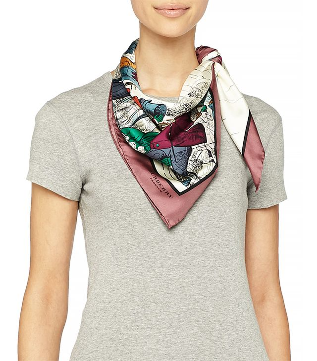 Burberry Weather Scene Printed Silk Scarf