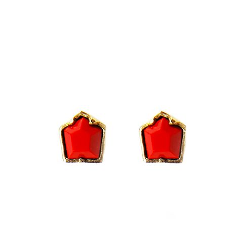 Large Hex Coral Stud Earrings