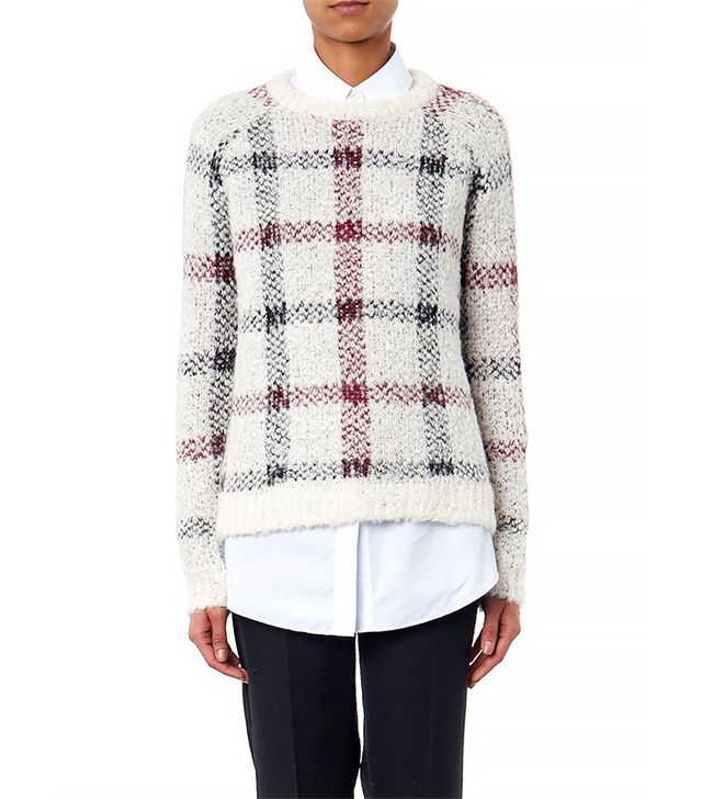 Theory Innis Plaid Textured-Knit Sweater