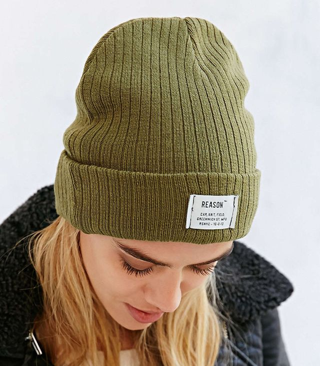 Reason Patch Ribbed Knit Beanie