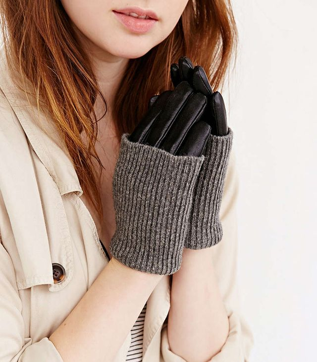 Urban Outfitters Knit and Leather Combo Gloves