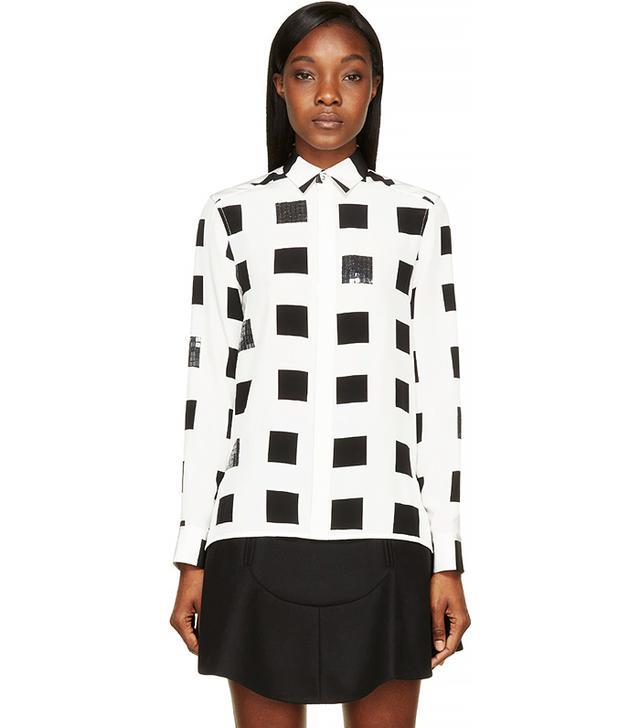 Kenzo White & Black Square Print Silk Crepe Blouse