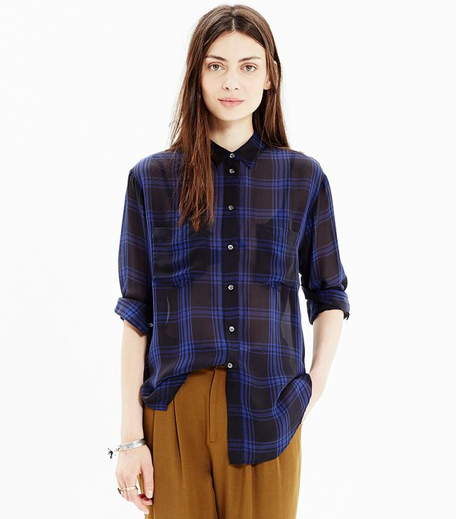 Madewell Silk Spotlight Shirt in Deep Plaid