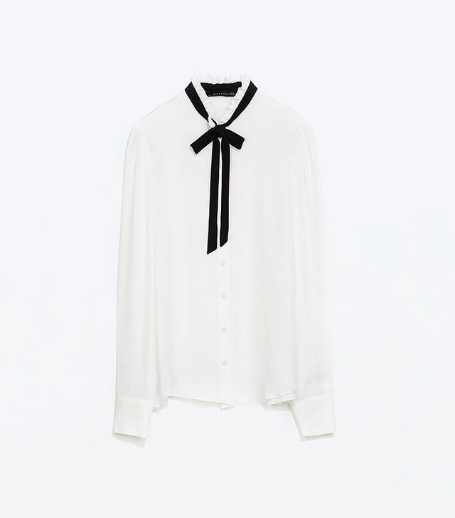 Zara Contrast Tie-Neck Silk Blouse