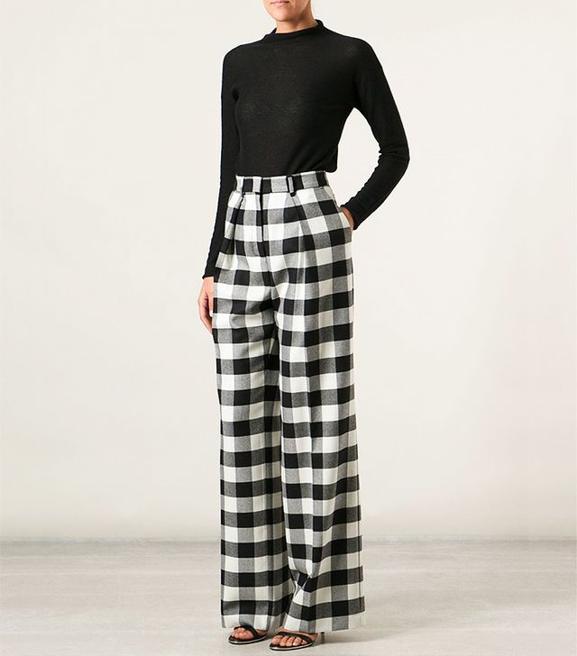 MSGM Checked Wide Leg Trouser