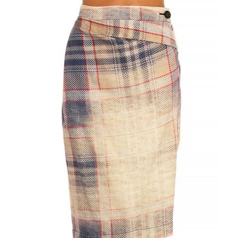 Isolation Faded-Tartan Wool Skirt