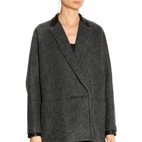 Primrose Leather-Trimmed Wool-Blend Coat