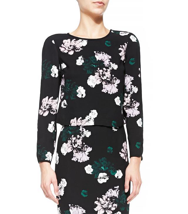 A.L.C. Schooly Long-Sleeve Floral Crop Top
