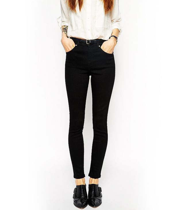 ASOS Ridley Skinny Ankle Grazer Jeans in Clean Black