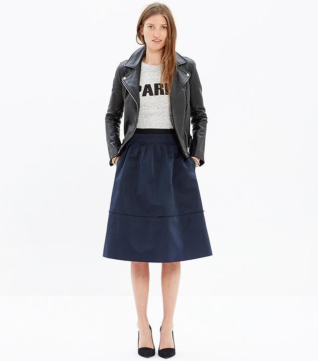 Madewell Satin Pleated Midi Skirt