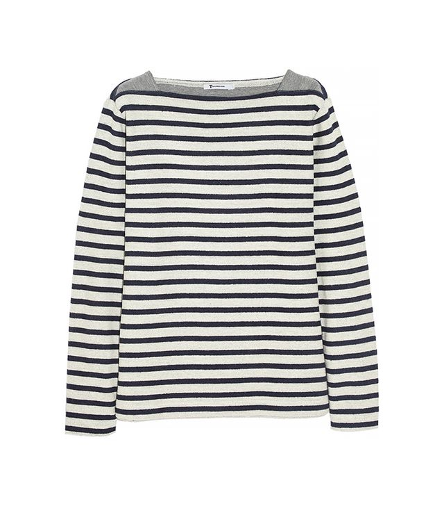 T by Alexander Wang Striped Cotton Terry Top