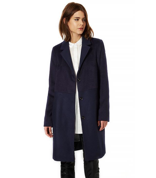 Topshop Wool Blend Contrast Hybrid Coat