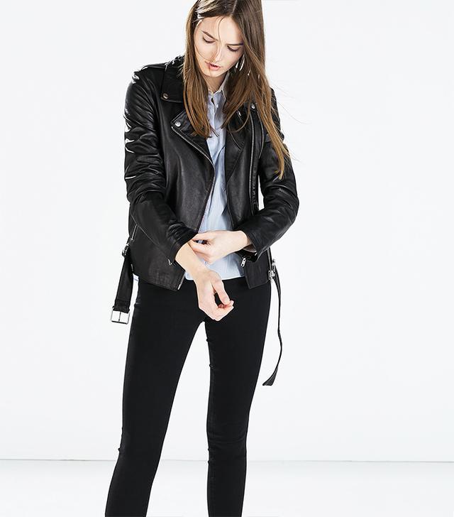 Zara Zipped Leather Biker Jacket