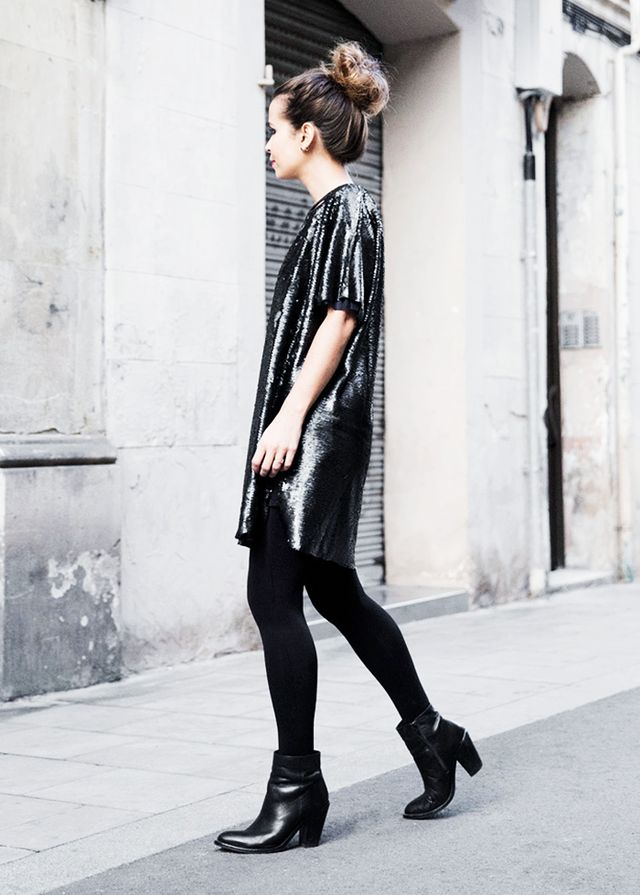 Sequin Dress + Ankle Boots