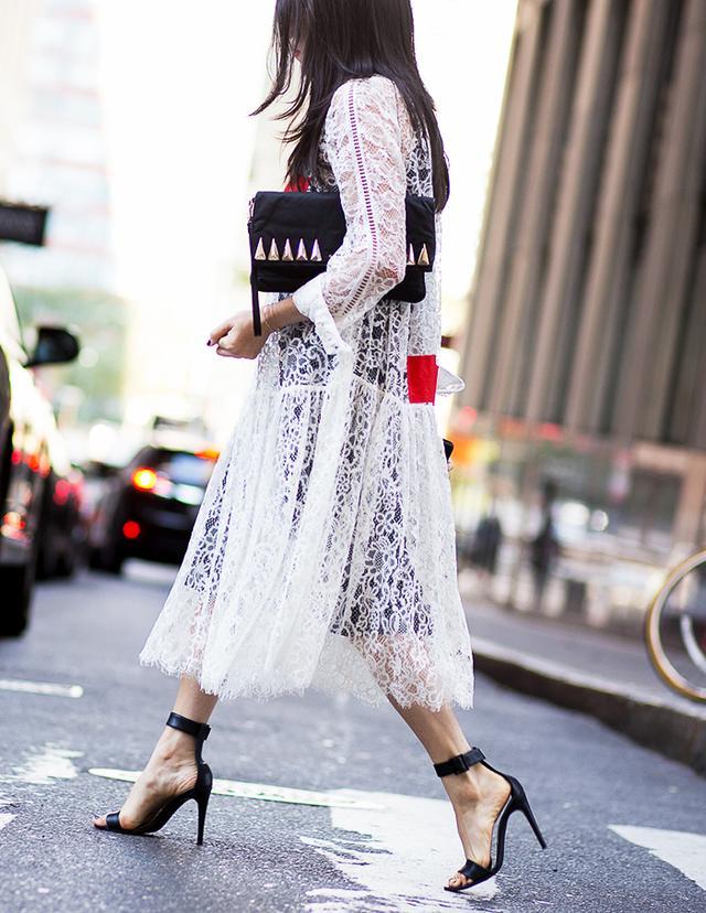 Lace Dress + Ankle-Strap Heels