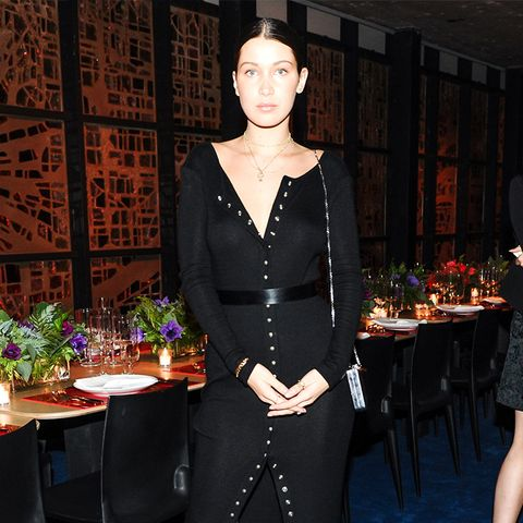 bella hadid black button down dress