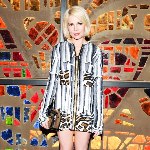 Michelle Williams animal print mini dress