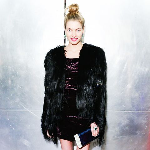 Jessica Hart velvet dress and furry coat
