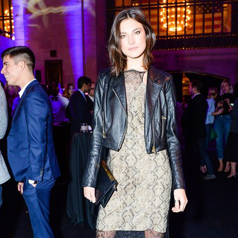 Jacquelyn Jablonski beige lace dress and moto jacket