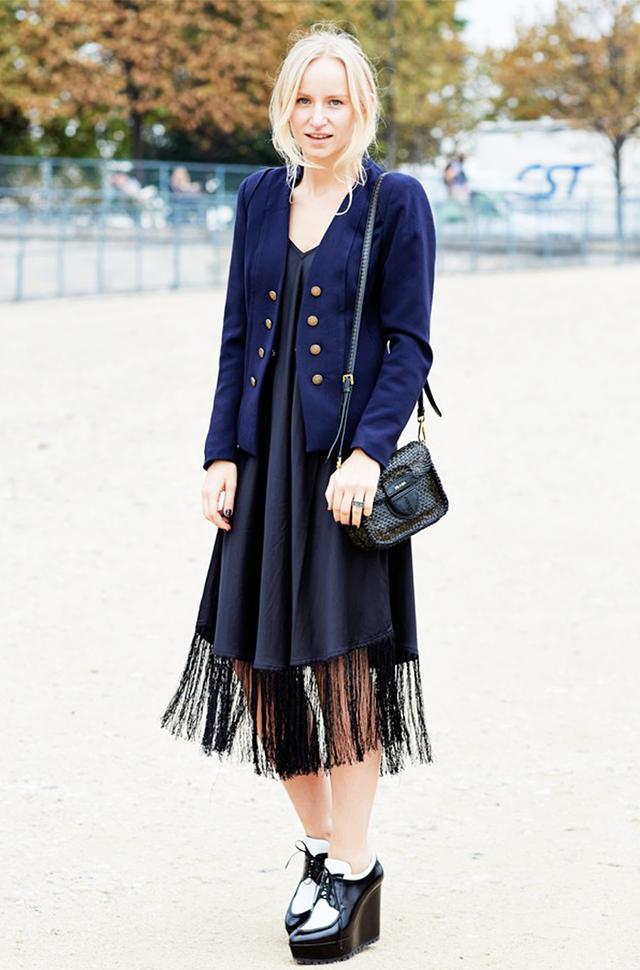 Flirty Dress + Menswear-Inspired Shoes