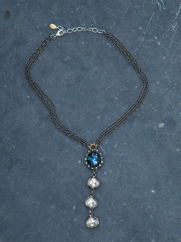 Mikal Winn Blue and Clear Crystal Drop Necklace