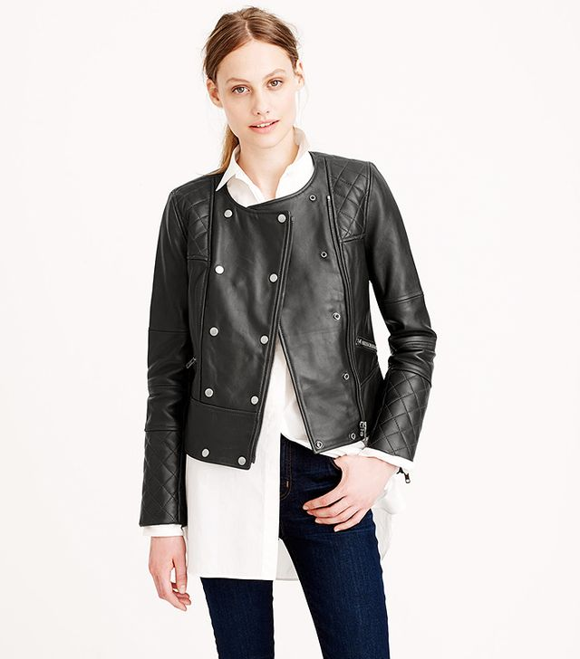 J. Crew Collection Quilted Leather Motorcycle Jacket