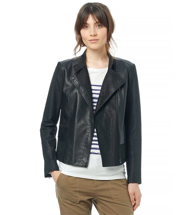 Vince Textured Block Leather Moto Jacket