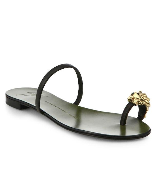 Giuseppe Zanotti Metallic Lion Toe Ring Leather Sandals