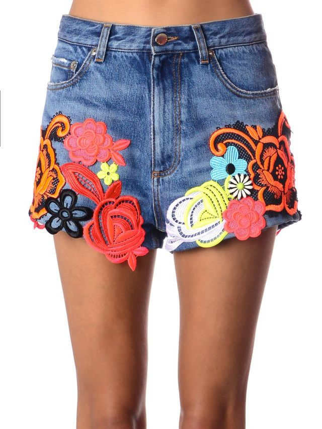 Christopher Kane Lace-Embroidered Denim Shorts