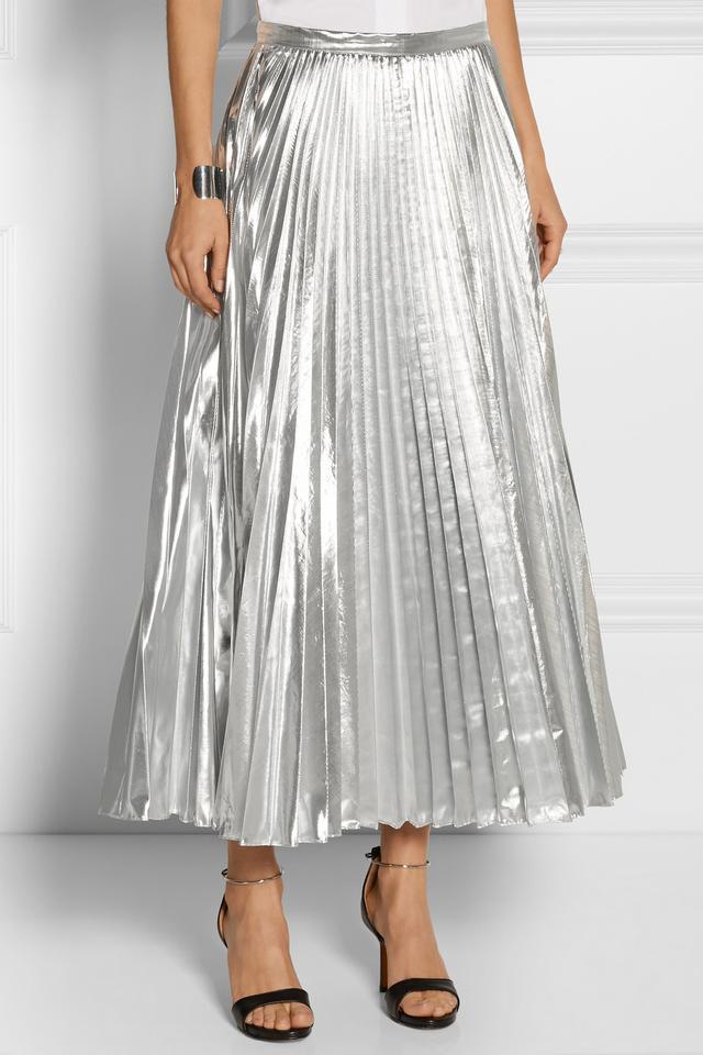 DKNY Pleated Metallic Taffeta Midi Skirt