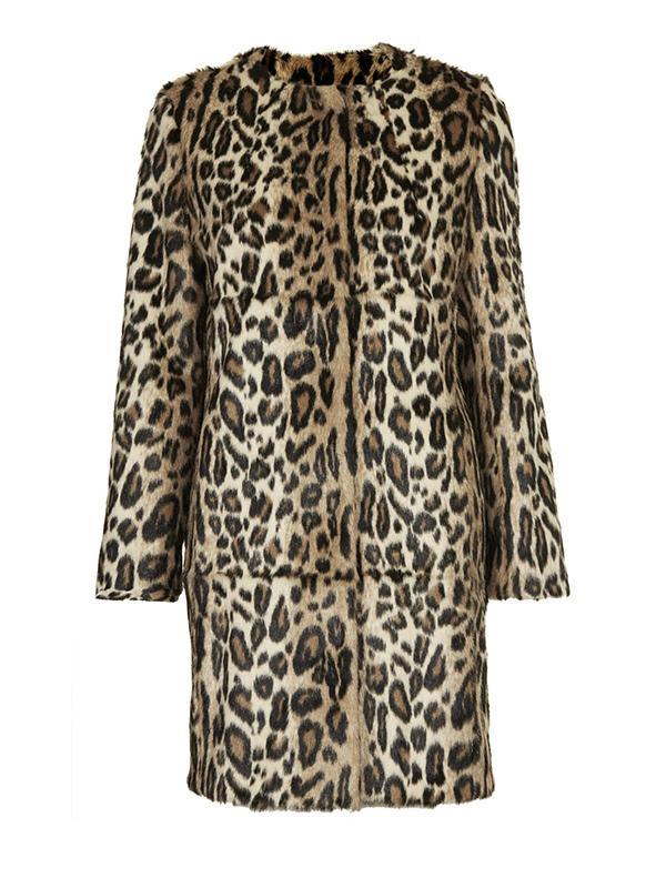 Topshop Faux Fur Animal Print Coat