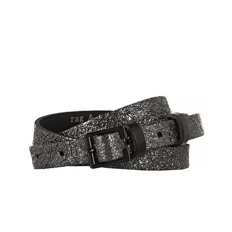 Skinny Foil-Effect Leather Belt