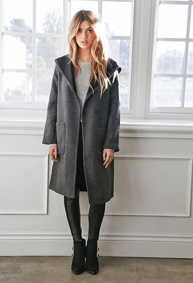 Forever 21 Hooded Shawl Collar Coat