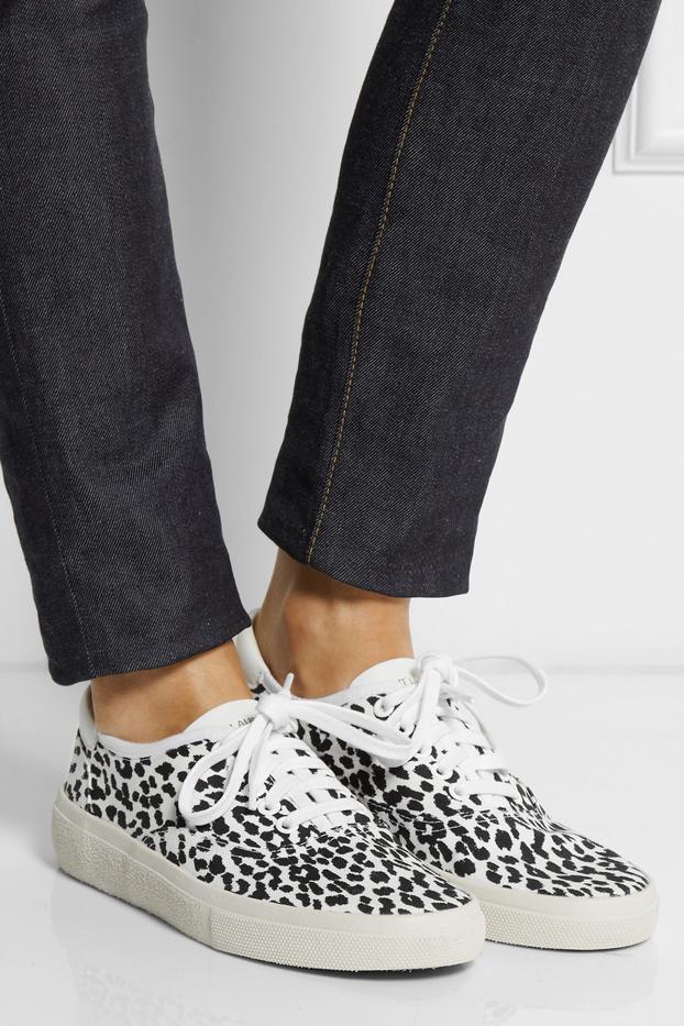 Saint Laurent Leopard-Print Canvas Sneakers
