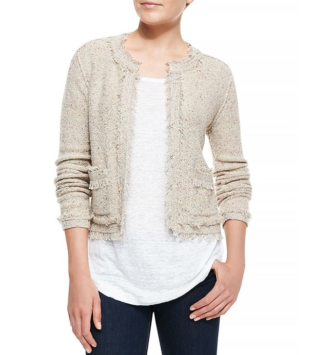 Joie Porsha Fringe-Trim Tweed Jacket