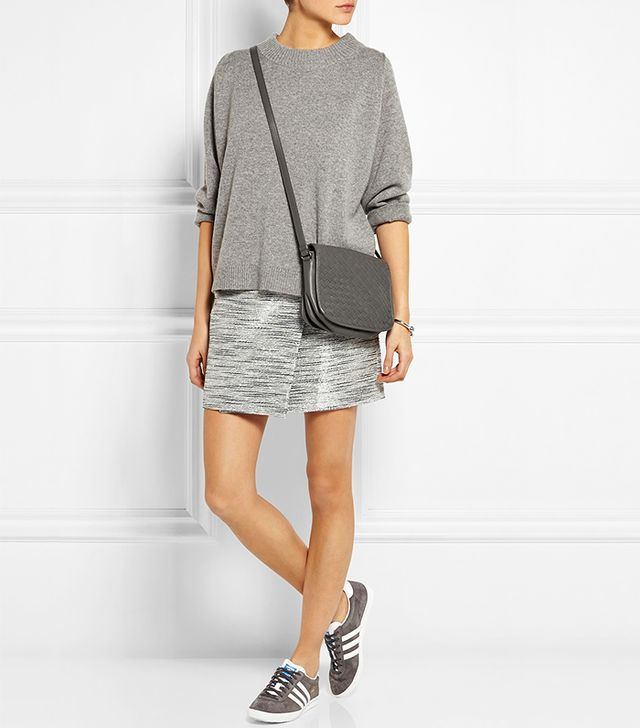 J.Crew Origami Wrap-Effect Metallic Suede Skirt
