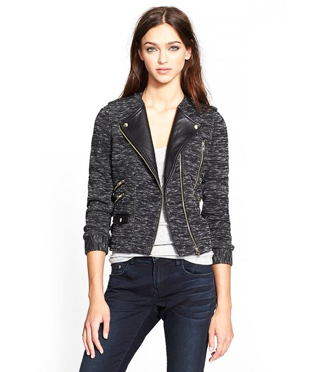 The Kooples Leather Trim Tweed Moto Jacket