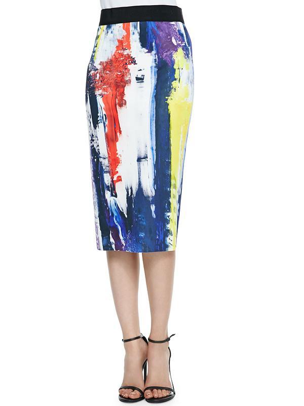 Milly Graffiti-Print Pencil Skirt