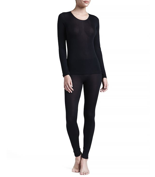 Hanro Silk Long-Sleeve Shirt ($150) and Leggings