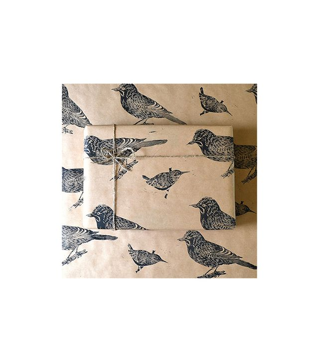 Handmade and Heritage Jay and Wren Bird Lino Printed Gift Wrap