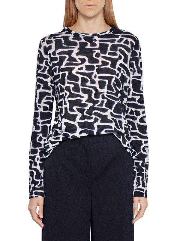 Proenza Schouler Long Sleeve Printed Cotton T-Shirt