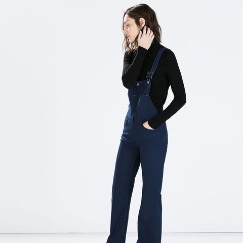 zara outfit blue overalls